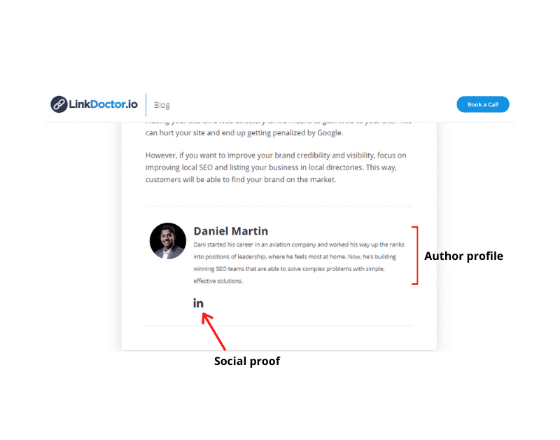 Author profile of Daniel Martin and social proof connecting the author to a LinkedIn profile.