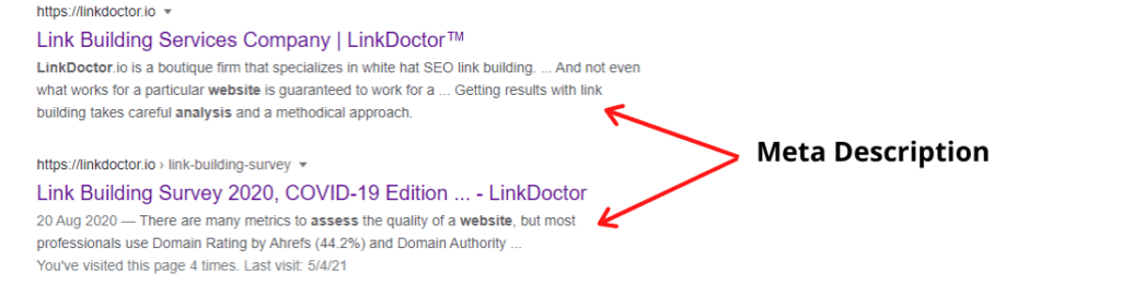 Meta Description of LinkDoctor Link Building Survey article in Google.