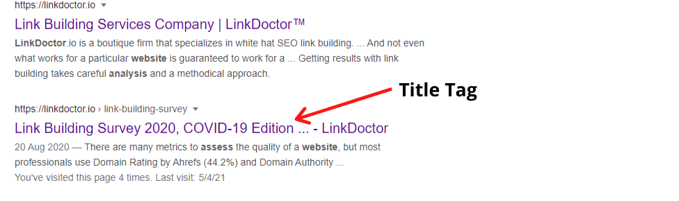 The title tag of LinkDoctor™ Link Building Survey article.