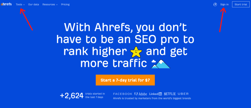 Ahrefs homepage shows the tools you can use for competitor analysis.