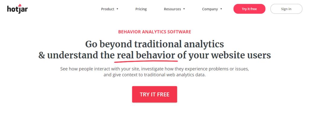 HotJar behavior analytics software.