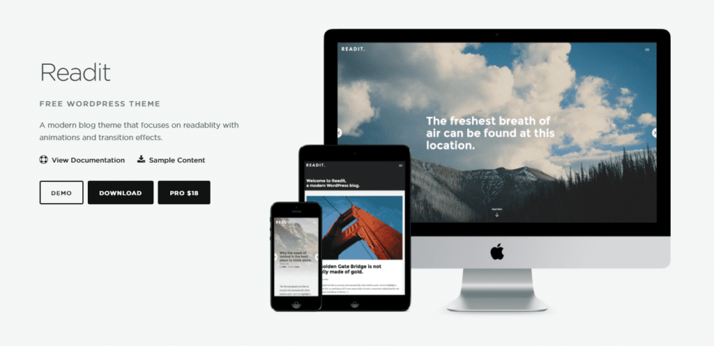Readit WordPress theme has a modern touch that focuses on the readability of your content.
