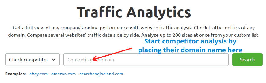 Start competitor analysis by placing their domain name on the search bar.