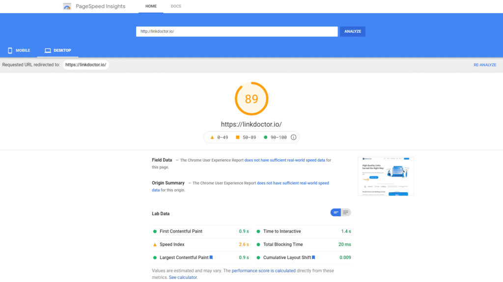 Google PageSpeed Insight assessment for LinkDoctor.io website.
