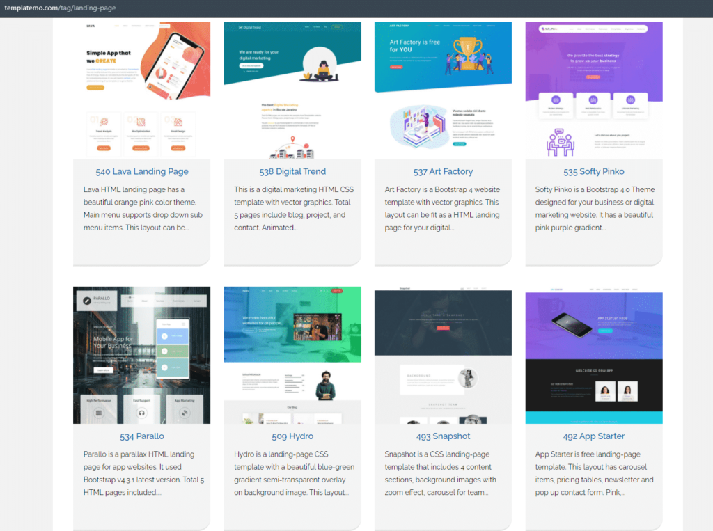 TemplateMo has multiple landing page templates you can choose from.