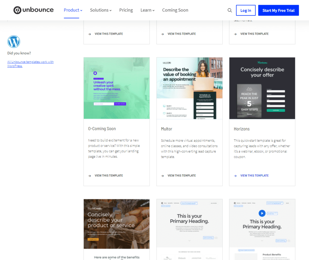 Unbounce product page showing a lot of downloadable landing page templates.