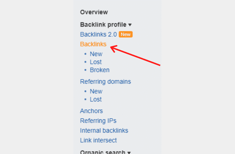 From the Ahrefs sidebar, click on the backlinks to see what domains are linking to your competitor.