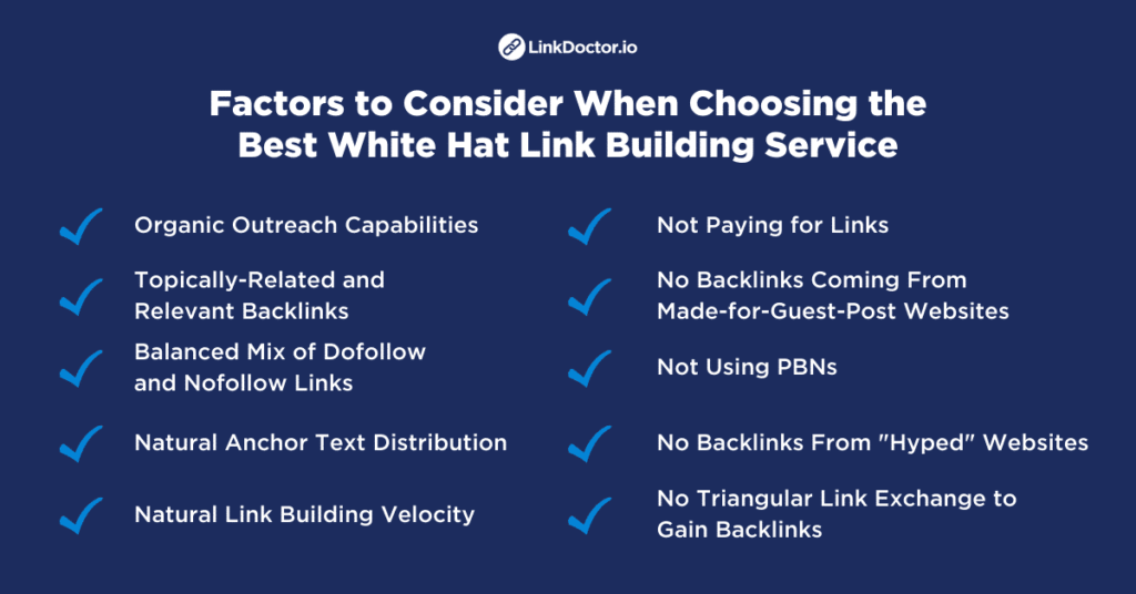 Factors to consider when choosing the best white hat link building service.