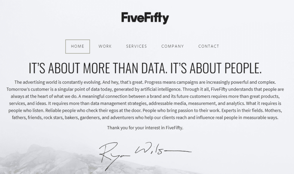 FiveFifty company focuses on building a meaningful connection between brands.